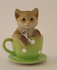 Spardose Katze in grüner Tasse mit Schlüssel Wurm (19840)