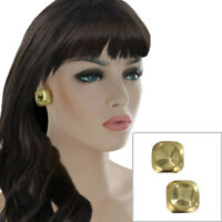 """Gold Tone Crater Imprint Abstract Button Square Stud Pierced Earrings 1"""""""