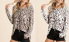 Leopard Print Top Low Gauge Knit Deep Neck Mocha or Off White S M L XL