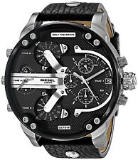 Diesel DZ7313 Herrenuhr Edelstahl Leder Mr. Daddy Chronograph Armbanduhr Uhr