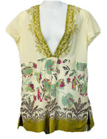 J. Jill Women's Tunic Top Size Small Ivory Pink Green Brown Floral V Neck Cotton