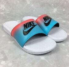 NIKE BENASSI JDI Print Slide Sandals CJ0530-100 White/Blue Men's Size 10 NEW.