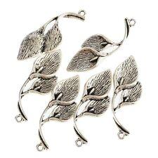 Hanging Lily Flower 3D Beads Tibetan Silver Charms Pendant DIY 5pcs 16*37mm