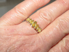 WOMENS GENUINE YELLOW SAPPHIRE RING SIZE 8 IN PLATINUM OVER STERLING