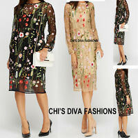 Embroidered Mesh overlay Floral Dress By AIKHA Sizes S=8/10, M=10/12, L=12/14