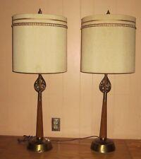 PAIR VINTAGE MIDCENTURY RETRO ATOMIC ERA REMBRANDT TABLE  LAMP  / SHADES POOR