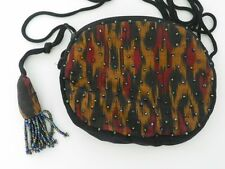 Ikat Beaded Bag from Bali with bead tassel