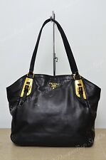 Prada Calf Leather Shoulder Tote Bag w/ Gold HW Accent GentlyUsed Authentic