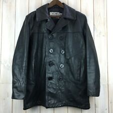 Vintage Men's Schott NYC 740N Black Leather Pea Coat Jacket Made in USA 40 M / L