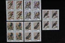 1991 ZAMBIA - BIRDS PART SET OF 4 VALUES - BLOCKS OF 4 - MNH
