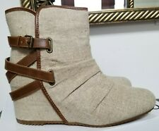 Aldo Canvas Nennia Booties Womens Ankle Boots Size 9 NWB