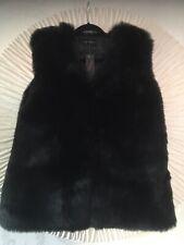 Black Faux Fur Gilet...NEW...Size 16/18