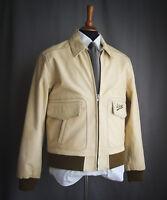 SCHOTT Leather Jacket - Cream, Cowhide, Size L