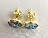 Lightning Ridge Triplet Opal Stud Earrings Twice 18ct Gold Plated w Certificate