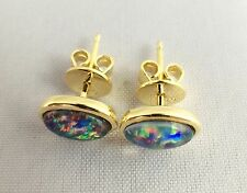 Lightning Ridge Triplet Opal Stud Earrings Twice 18ct Gold Plated w Certificate