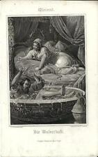 Stampa antica WIELAND Nella vasca da bagno! 1860 Old antique print Alte stich