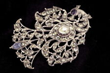 ANTIQUE INDIAN VICTORIAN RAJ SILVER FOILED JARGOON BROOCH PELICAN in her PIETY