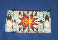 """Beaded Tote Bag Eagle Feather design Fabric Lined Zips  7x3.5"""" SILVER"""