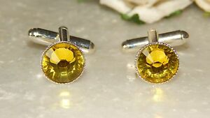 S/P Cufflinks & 10mm Citrine Yellow Resin.Wedding.Ladies.Mens.Gifts.Accessories