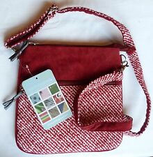 Earth Squared pouch / cross body / messenger red cord and tweed bag BNWT