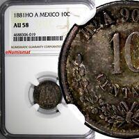Mexico SECOND REP.Silver 1881 HO A 10 Centavos NGC AU58 Hermosillo RARE KM#403.6