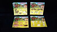 Vintage Plastic Miniature Farm Set Animal Lot of 4 NIP 1960's  Made in Hong Kong