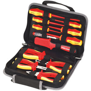 Profi VDE Elektro Werkzeugsatz 12 Teile Werkzeugmappe Werkzeugtasche Elektriker