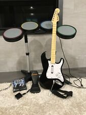 PS2 PlayStation Rock Band Bundle Wireless Fender Guitar & Dongle, Drums PS3 PS4
