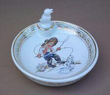 Assiette à bouillie GARÇON POISSON OISEAU porcelaine de LIMOGES GL ancienne