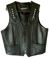 UNIK Heavy LEATHER VEST 44 BLACK Pockets Motorcycle Indian Arrow Beaded Braided