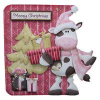 Mooey (Merry) Christmas Special Handmade 3D Decoupage Christmas Card Cow