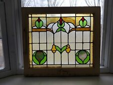 Vintage Art Deco Stained Glass Window With Original Hardware Nice!