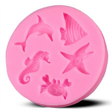Twin sea animals Dolphins starfish Silicone Mold Mould for cake Icing  M28
