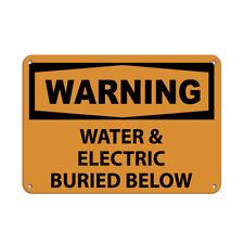 Horizontal Metal Sign Multiple Sizes Warning Water Electric Buried Below Safety