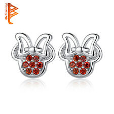 925 sterling silver diamante Mickey & Minnie mouse stud earrings,free gift