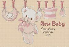 Cross stitch chart-Nuovo Bambino Nascita campionatore la sua una ragazza Flowerpower 37-uk
