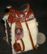 Dollhouse Miniature Prestige Fancy Brown Leather Horse Saddle Texas 1:12 #5787