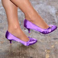 Ladies Satin Bridal Shoes Womens Wedding Bridesmaid Low Kitten Evening Mid Heel