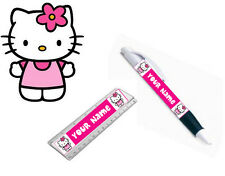 PERSONALISED HELLO KITTY PEN / RULER SET - Great Kids/Children School Gifts