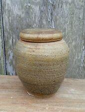Vintage art Pottery stoneware lidded jar 6.75 inches