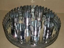 Teelichthalter-Set 9 teilig Metall + Glas mit Tablet  hämatitfarben miaVILLA