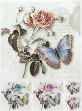 Papel De Arroz Para Decoupage, Scrapbook Hoja, artesanía Rosa y Mariposa