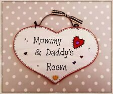 HANDMADE Shabby Chic Mummy's & Daddy's Mum And Dads Bedroom Room Plaque Sign <3
