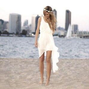 White Ivory Beach Wedding Dress Short Bridal Gown Custom Size 6 8 10 12 14 16+++