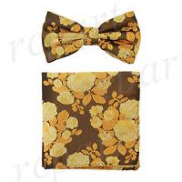 Men's microfiber Pre-tied Bow Tie & hankie set brown yellow floral formal prom
