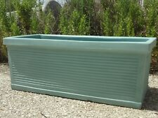 Vaso in resina Cassetta Millerighe Italiano verde acqua