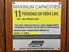 Malibu Boat V-Ride 2009 to 2014 or VLX 2005 to 2008 Maximum Capacities Plate NEW