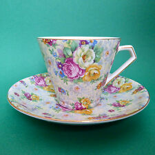 Lord Nelson Rose Time Tea Cup Saucer Chintz Floral Art Deco England Vintage
