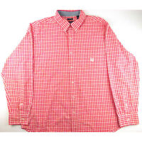 Men's Chaps Red Gingham Plaid Long Sleeve Button Down Oxford XL Easy Care Spring