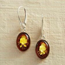 Intaglio Carved Rose Honey Oval Baltic Amber Sterling Silver Leverback Earrings